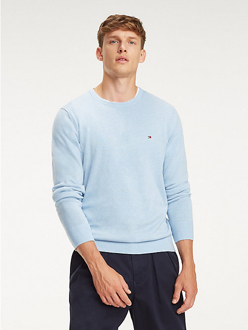 TOMMY HILFIGER Cotton-Silk Crew Neck Jumper - CHAMBRAY BLUE HTR - TOMMY HILFIGER Jumpers - main image