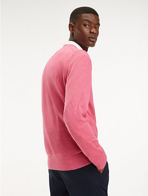TOMMY HILFIGER Cotton-Silk Crew Neck Jumper - LILAC ROSE HEATHER - TOMMY HILFIGER Jumpers - detail image 1
