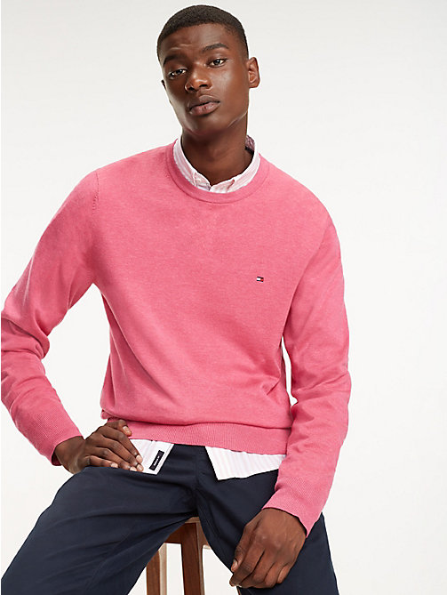 TOMMY HILFIGER Cotton-Silk Crew Neck Jumper - LILAC ROSE HEATHER - TOMMY HILFIGER Jumpers - main image