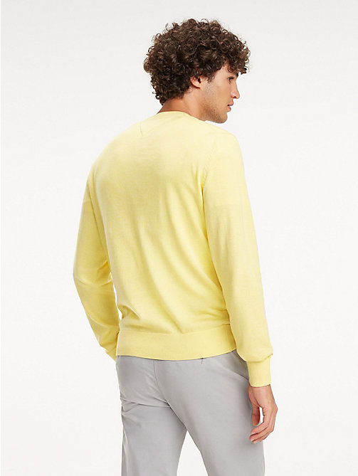 TOMMY HILFIGER Cotton-Silk Crew Neck Jumper - LEMON ZEST HEATHER - TOMMY HILFIGER Jumpers - detail image 1