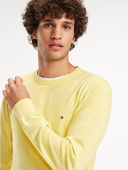 TOMMY HILFIGER Cotton-Silk Crew Neck Jumper - LEMON ZEST HEATHER - TOMMY HILFIGER Jumpers - main image