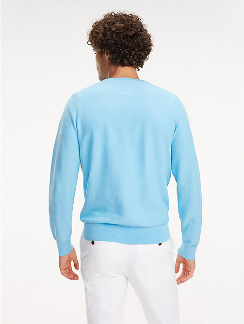 TOMMY HILFIGER Cotton Crew Neck Jumper - ALASKAN BLUE - TOMMY HILFIGER Jumpers - detail image 1