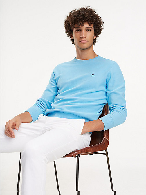 TOMMY HILFIGER Cotton Crew Neck Jumper - ALASKAN BLUE - TOMMY HILFIGER Jumpers - main image