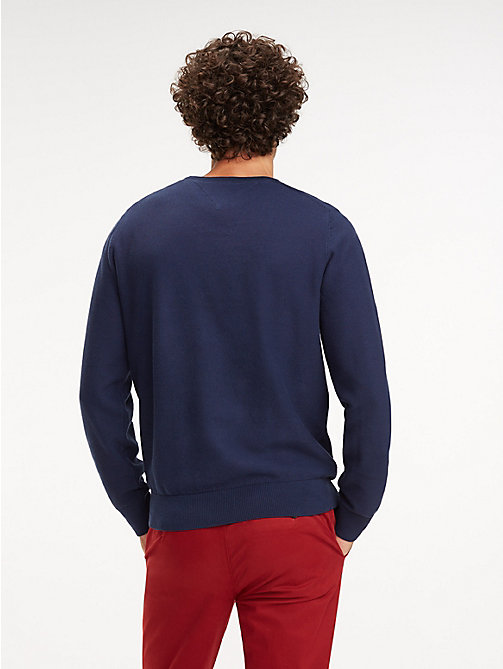 TOMMY HILFIGER Cotton Crew Neck Jumper - BLACK IRIS - TOMMY HILFIGER Jumpers - detail image 1