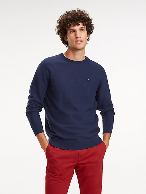 TOMMY HILFIGER Cotton Crew Neck Jumper - BLACK IRIS - TOMMY HILFIGER Jumpers - main image