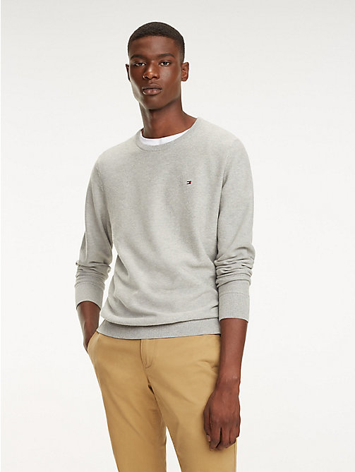 TOMMY HILFIGER Cotton Crew Neck Jumper - CLOUD HTR - TOMMY HILFIGER Jumpers - main image