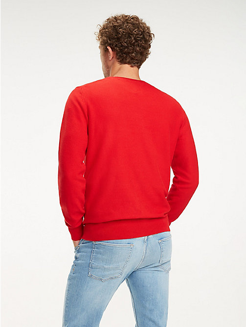 TOMMY HILFIGER Cotton Crew Neck Jumper - HAUTE RED - TOMMY HILFIGER Jumpers - detail image 1