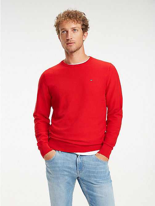 TOMMY HILFIGER Cotton Crew Neck Jumper - HAUTE RED - TOMMY HILFIGER Jumpers - main image
