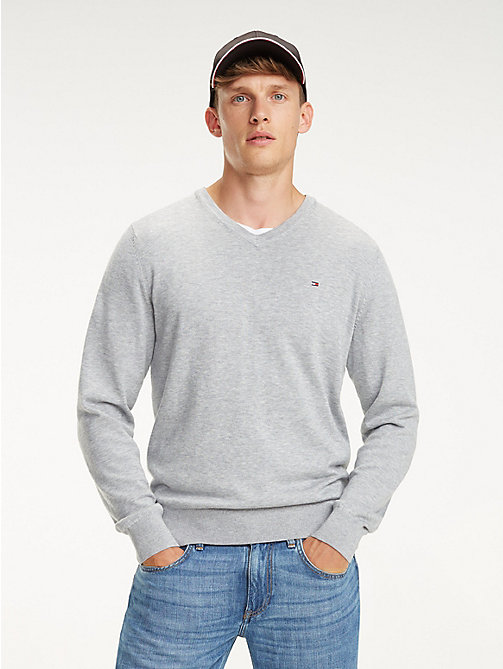 TOMMY HILFIGER Cotton-Silk V-Neck Jumper - SLEET HEATHER - TOMMY HILFIGER Jumpers - main image