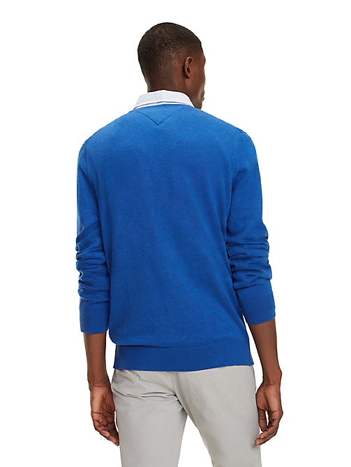 TOMMY HILFIGER Cotton-Silk V-Neck Jumper - BLUE QUARTZ HEATHER - TOMMY HILFIGER Jumpers - detail image 1