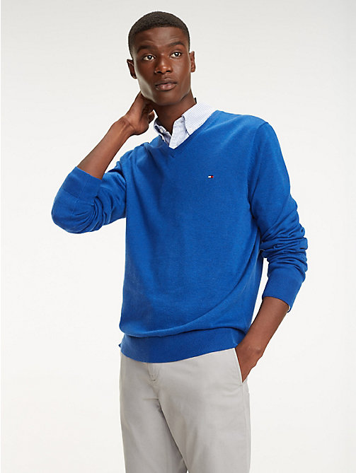 TOMMY HILFIGER Cotton-Silk V-Neck Jumper - BLUE QUARTZ HEATHER - TOMMY HILFIGER Jumpers - main image