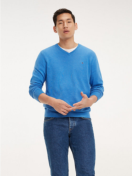 TOMMY HILFIGER Cotton-Silk V-Neck Jumper - REGATTA HEATHER - TOMMY HILFIGER Jumpers - main image