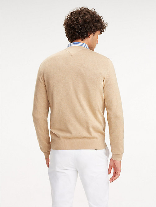 TOMMY HILFIGER Cotton-Silk V-Neck Jumper - TANNIN HEAHTER - TOMMY HILFIGER Jumpers - detail image 1
