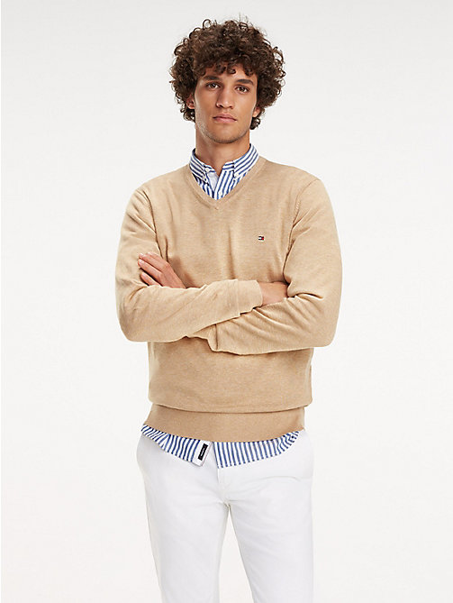 TOMMY HILFIGER Cotton-Silk V-Neck Jumper - TANNIN HEAHTER - TOMMY HILFIGER Jumpers - main image