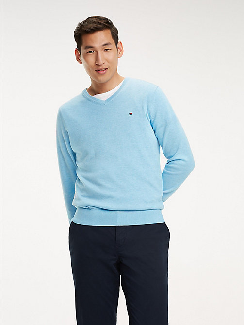 TOMMY HILFIGER Cotton-Silk V-Neck Jumper - ALASKAN HEATHER - TOMMY HILFIGER Jumpers - main image