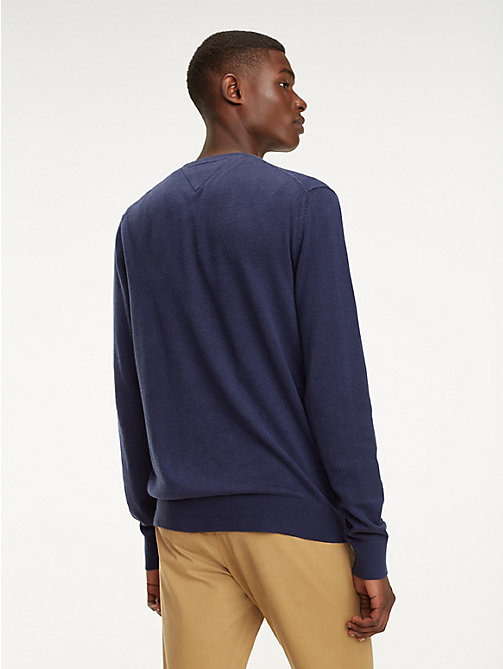 TOMMY HILFIGER Cotton-Silk V-Neck Jumper - BLACK IRIS HEATHER - TOMMY HILFIGER Jumpers - detail image 1