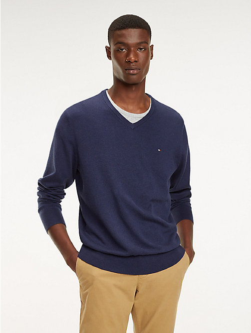 TOMMY HILFIGER Cotton-Silk V-Neck Jumper - BLACK IRIS HEATHER - TOMMY HILFIGER Jumpers - main image