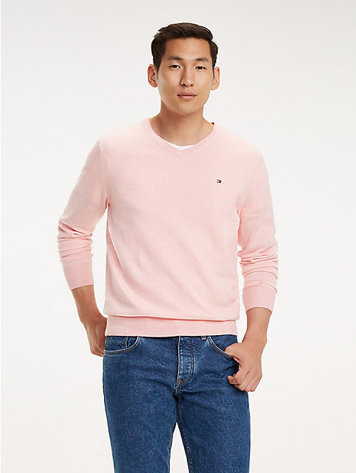 TOMMY HILFIGER Cotton-Silk V-Neck Jumper - SWEET LILAC HEATHER - TOMMY HILFIGER Jumpers - main image