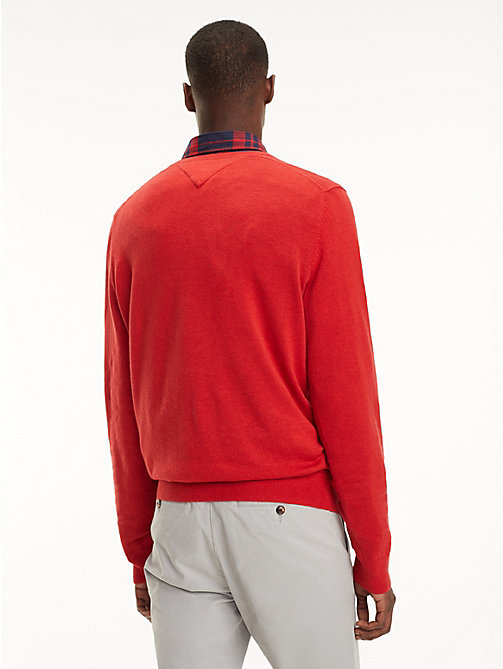 TOMMY HILFIGER Cotton-Silk V-Neck Jumper - HAUTE RED HTR - TOMMY HILFIGER Jumpers - detail image 1