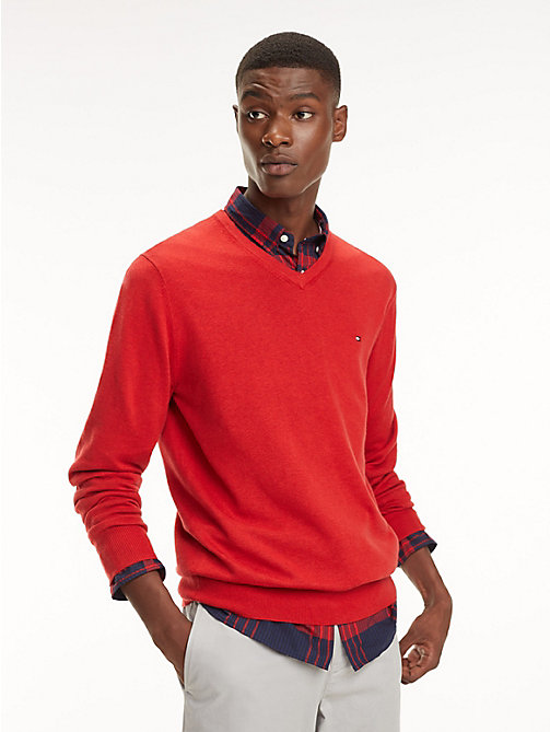 TOMMY HILFIGER Cotton-Silk V-Neck Jumper - HAUTE RED HTR - TOMMY HILFIGER Jumpers - main image
