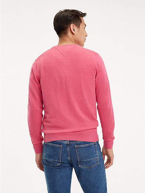 TOMMY HILFIGER Cotton-Silk V-Neck Jumper - LILAC ROSE HEATHER - TOMMY HILFIGER Jumpers - detail image 1