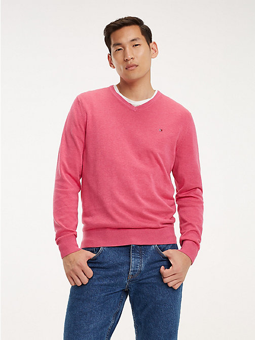TOMMY HILFIGER Cotton-Silk V-Neck Jumper - LILAC ROSE HEATHER - TOMMY HILFIGER Jumpers - main image