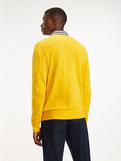 TOMMY HILFIGER Cotton-Silk V-Neck Jumper - GOLD FUSHION HEATHER - TOMMY HILFIGER Jumpers - detail image 1