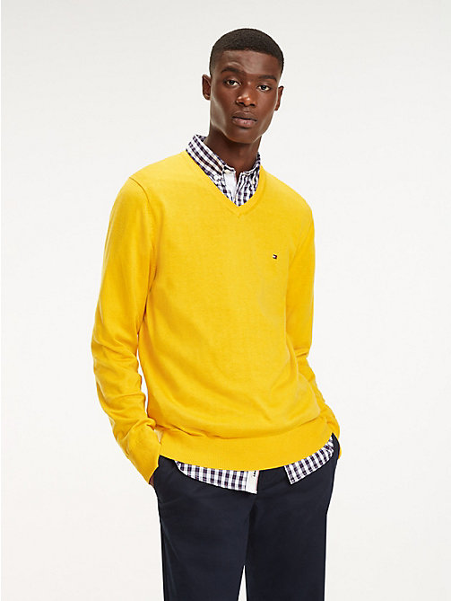 TOMMY HILFIGER Cotton-Silk V-Neck Jumper - GOLD FUSHION HEATHER - TOMMY HILFIGER Jumpers - main image
