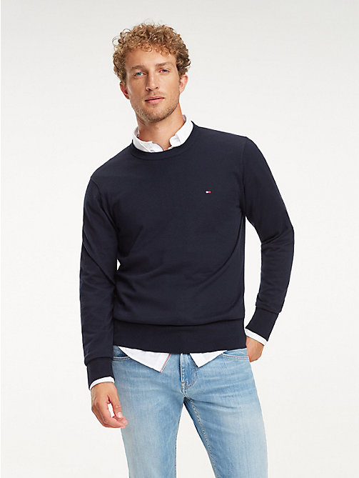 TOMMY HILFIGER Cool Comfort Crew Neck Jumper - SKY CAPTAIN - TOMMY HILFIGER Jumpers - main image