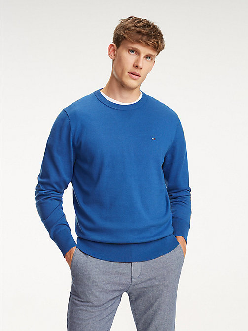 TOMMY HILFIGER Cool Comfort Crew Neck Jumper - BLUE QUARTZ - TOMMY HILFIGER Jumpers - main image