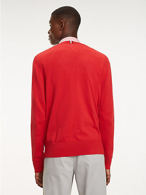 TOMMY HILFIGER Cool Comfort Crew Neck Jumper - HAUTE RED - TOMMY HILFIGER Jumpers - detail image 1