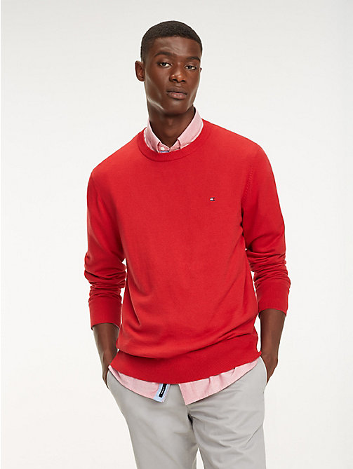 TOMMY HILFIGER Cool Comfort Crew Neck Jumper - HAUTE RED - TOMMY HILFIGER Jumpers - main image