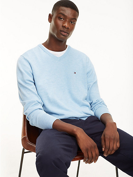 TOMMY HILFIGER Cool Comfort V-Neck Jumper - CHAMBRAY BLUE HTR - TOMMY HILFIGER Jumpers - main image