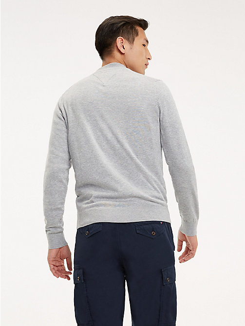TOMMY HILFIGER Cotton-Silk Zip-Thru Jumper - SLEET HEATHER - TOMMY HILFIGER Jumpers - detail image 1