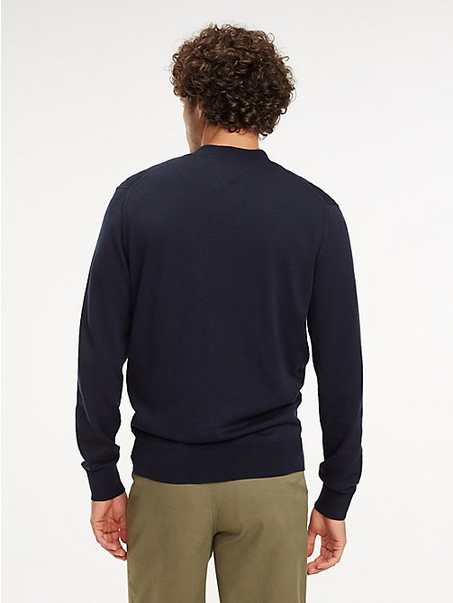 TOMMY HILFIGER Cotton-Silk Zip-Thru Jumper - SKY CAPTAIN - TOMMY HILFIGER Jumpers - detail image 1