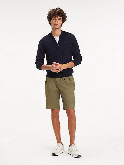 TOMMY HILFIGER Cotton-Silk Zip-Thru Jumper - SKY CAPTAIN - TOMMY HILFIGER Jumpers - main image
