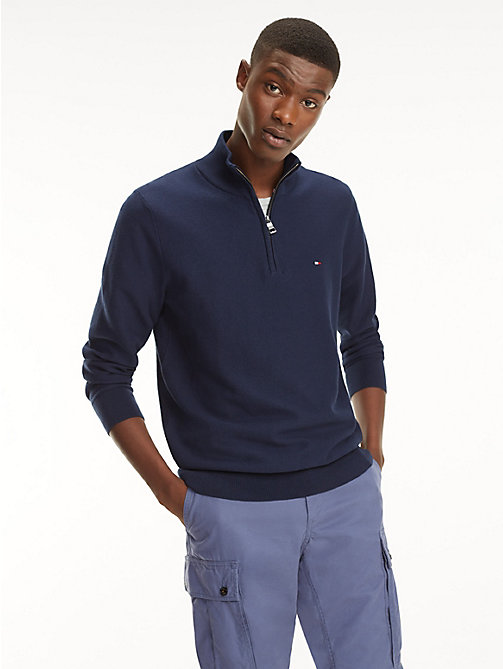TOMMY HILFIGER Half Zip Mock Neck Jumper - BLACK IRIS - TOMMY HILFIGER Jumpers - main image