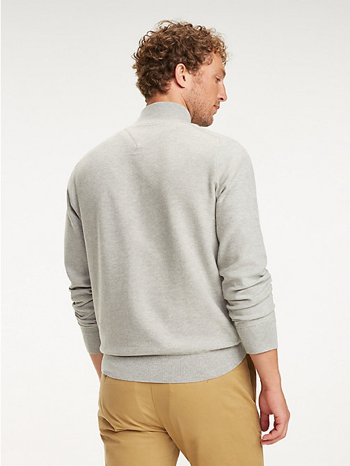 TOMMY HILFIGER Half Zip Mock Neck Jumper - CLOUD HTR - TOMMY HILFIGER Jumpers - detail image 1