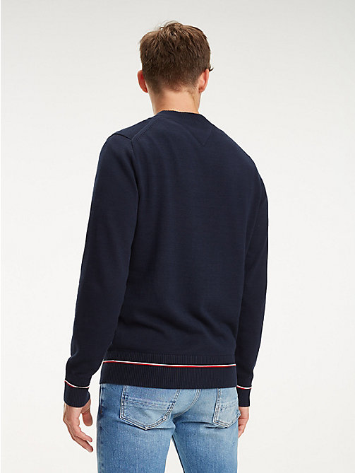 TOMMY HILFIGER Rib-Knit Panel Cotton Jumper - SKY CAPTAIN - TOMMY HILFIGER Jumpers - detail image 1