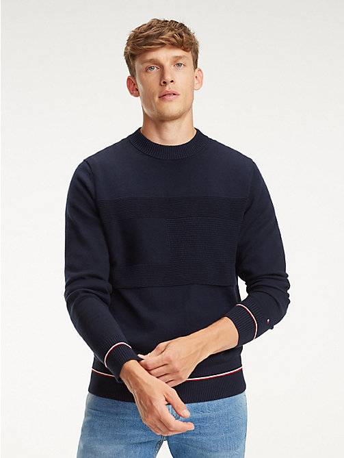 TOMMY HILFIGER Rib-Knit Panel Cotton Jumper - SKY CAPTAIN - TOMMY HILFIGER Jumpers - main image