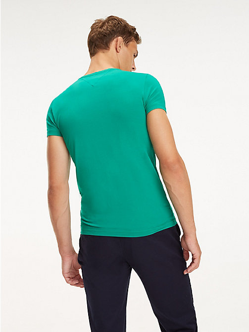 TOMMY HILFIGER Stretch Cotton Slim Fit T-Shirt - PEPPER GREEN - TOMMY HILFIGER T-Shirts - detail image 1