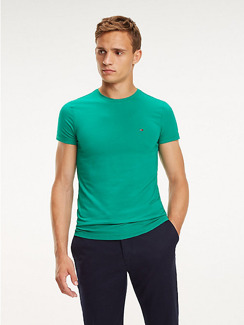 TOMMY HILFIGER Stretch Cotton Slim Fit T-Shirt - PEPPER GREEN - TOMMY HILFIGER T-Shirts - main image