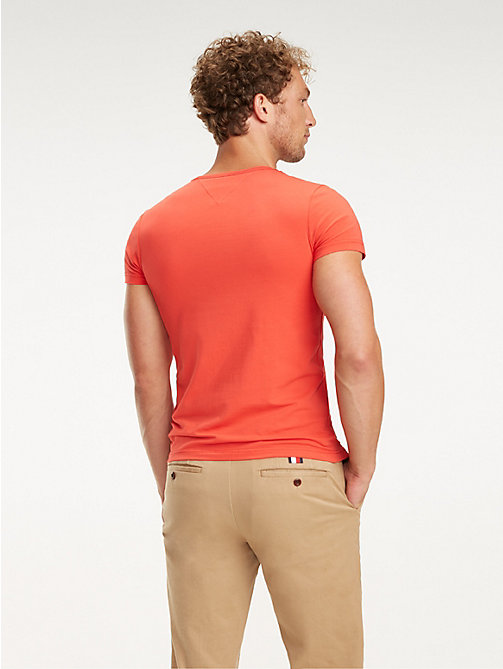 TOMMY HILFIGER Stretch Cotton Slim Fit T-Shirt - TOMATO - TOMMY HILFIGER T-Shirts - detail image 1