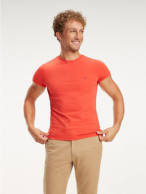 TOMMY HILFIGER Stretch Cotton Slim Fit T-Shirt - TOMATO - TOMMY HILFIGER T-Shirts - main image