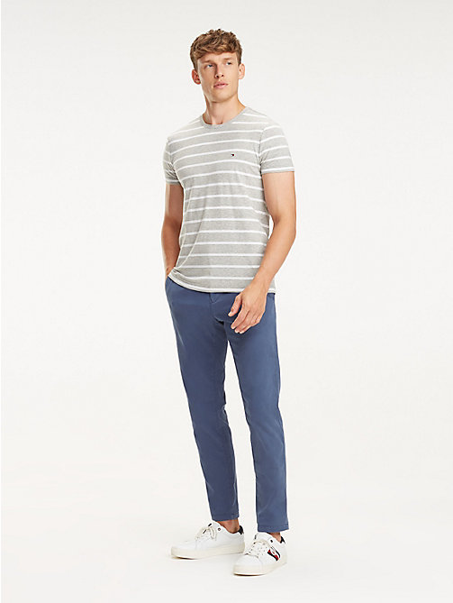TOMMY HILFIGER Stretch Cotton Slim Fit T-Shirt - CLOUD HTR / BRIGHT WHITE - TOMMY HILFIGER T-Shirts - main image