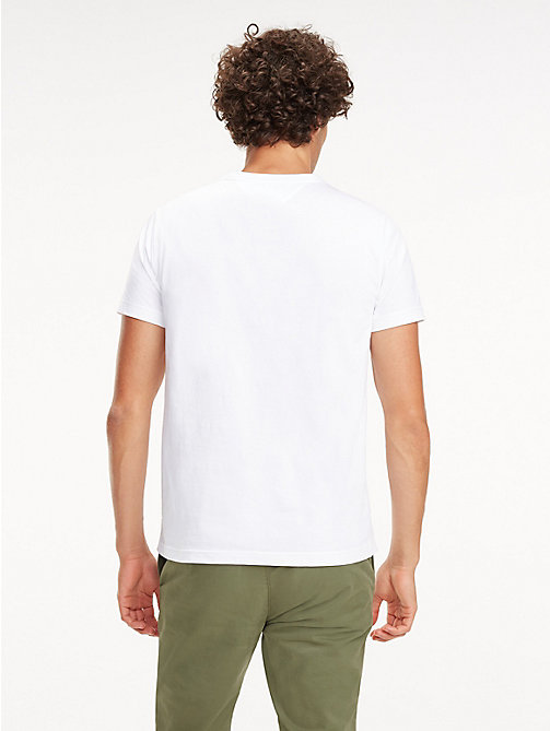 TOMMY HILFIGER Signature Tape Cotton T-Shirt - BRIGHT WHITE - TOMMY HILFIGER T-Shirts - detail image 1