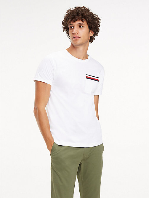 TOMMY HILFIGER Signature Tape Cotton T-Shirt - BRIGHT WHITE - TOMMY HILFIGER T-Shirts - main image