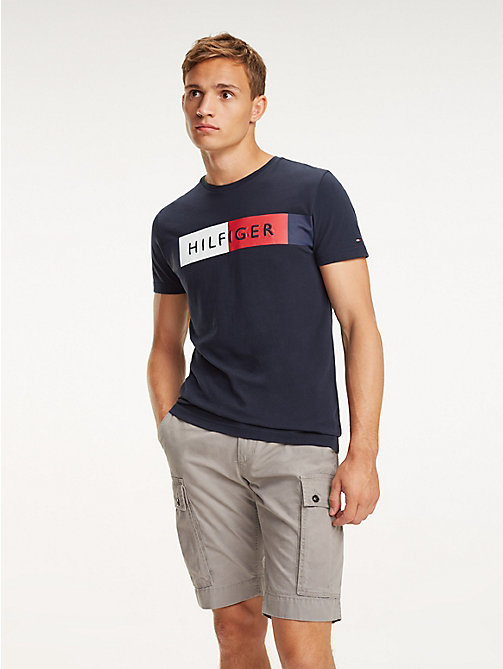 TOMMY HILFIGER Colour-Blocked Flag T-Shirt - SKY CAPTAIN - TOMMY HILFIGER T-Shirts - main image