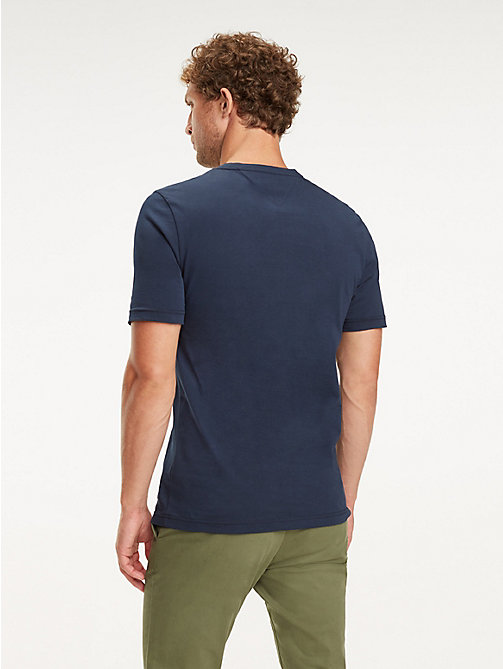 TOMMY HILFIGER Baumwoll-T-Shirt mit Monogramm-Patch - SKY CAPTAIN - TOMMY HILFIGER NEW IN - main image 1