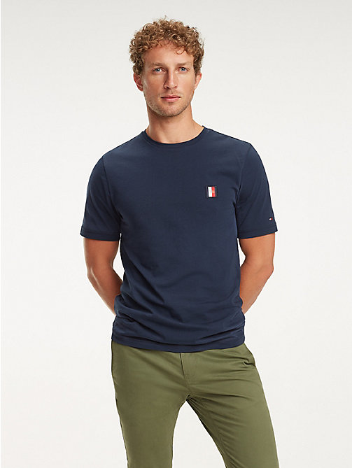 TOMMY HILFIGER Baumwoll-T-Shirt mit Monogramm-Patch - SKY CAPTAIN - TOMMY HILFIGER NEW IN - main image